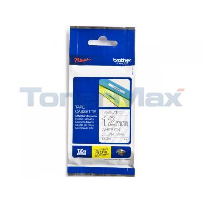 BROTER TZ LAMINATED TAPE WHITE ON CLEAR 12 MM X8 M